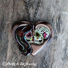 Ashes to Ashes Necklace - Forever Love Day of the Dead Lovers - Kissing Sugar Skull Couple Catrina Tattoo, I Tattoo, Necklace Tattoo, Wrist Tattoo, Skull Necklace, Day Of The Dead Art, Couple Necklaces, Love Days, Forever Love