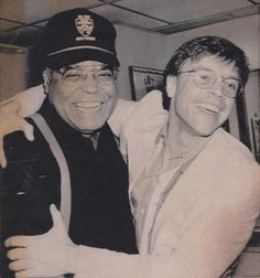 James Earl Jones and Mark Hamill after a Broadway performance of Fences, 1987