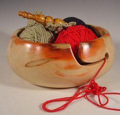 Box Elder Wooden Yarn Bowl Turned Wood Bowl Art  by NELSONWOOD