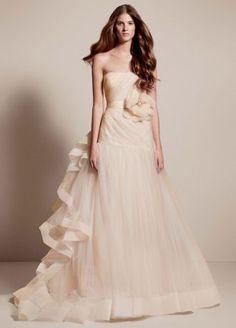 Nice White by Vera Wang Tricolored Draped Wedding Dress Style VW