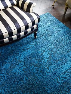 FLOR Carpet Tiles in Richly textured and boldly saturated Chenille Charade in Azure, also available in Tangerine, Frost, Kiwi, Maize and Persimmon.