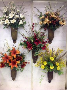 40 Wall Sconce Decor Ideas With Beautiful Fall Colors - Dlingoo Easter Flower Arrangements, Funeral Flower Arrangements, Silk Floral Arrangements, Artificial Flower Arrangements, Flower Vases, Grave Flowers, Cemetery Flowers, Funeral Flowers, Silk Flowers