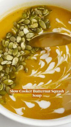 Slow Cooker Soup, Slow Cooker Recipes, Crockpot Recipes, Soup Recipes, Vegetarian Recipes, Cooking Recipes, Healthy Recipes, Butternut Squash Soup, Soup And Sandwich