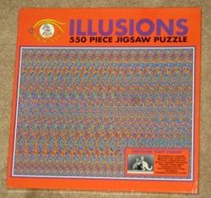 Illusions Magic Eye 550 Piece Jigsaw Puzzle NEW 3-D Illusions Boxing Kangaroos