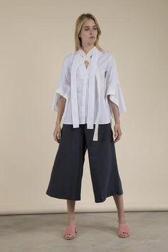Palmer//Harding - Pussy Bow Poplin Shirt Draping Techniques, Palmer Harding, Pattern Cutting, Poplin, Branding Design, Product Launch, Bow, Pants, Shirts
