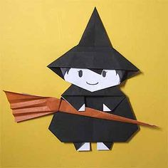 DIAGRAMA - How to fold the Halloween witch and broom in origami! Origami Witch, Instruções Origami, Origami Star Box, Origami Mouse, Origami And Kirigami, Origami Paper Art, Origami Dragon, Modular Origami, Origami Design