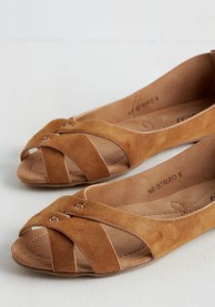 Duration of Vacation Flat in Caramel. These rich tan flats don't even make it into your suitcase - they travel on your feet! #tan #modcloth