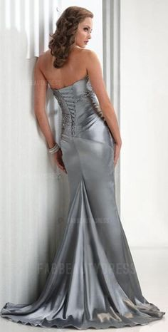 Sublime prom dress! Can be wear as a bridesmaids dress and evening dress as well!! Strapless Train Elastic silk-like Satin Prom Dress, Click on image for more!