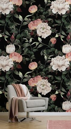 Floral wallpaper has made a comeback in the past few years and this year it has been all about the dark florals. These murals have been paired with beautiful furniture and understated accessories, to show you how to create a magnificent and dramatic space with dark floral wallpaper. #wallpaper #murals #wallmurals #interior #design #home #homedecor #decor #accentwall #inspiration