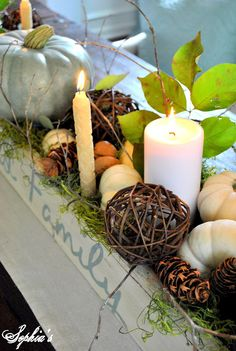 Fall table centerpiece: wooden long, narrow box painted and distressed, filled with candles, pumpkins, acorns, and wooden vase fillers! Perfect for long, narrow dining tables!
