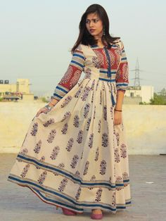 Beige Maroon Blue Hand Block Printed Long Cotton Dress with Gathers & Lining - DS06F001