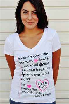 """Precious Daughter Christian t-shirt """"Precious daughter, your heart should be so lost in God, that a man needs to seek HIM first in order to find You"""" Based on scripture 2 Corinthians 6:14."""