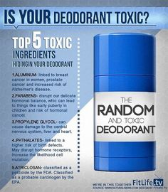 ... is your deodorant toxic? ... top 5 toxic ingredients hiding in your deodorant: 1) aluminum, 2) parabens, 3) propylene glycol, 4) phthalates, 5) triclosan ... for information on SAFE and NON-TOXIC alternatives, 'like' Ava Anderson Non-Toxic Consultant Anne Babineau at https://www.facebook.com/AvaAndersonNonToxicAnnieB and send message