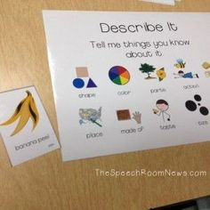 Describe it poster- good for expressive language and describing