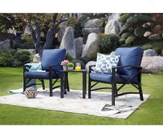 """Patio chairs are the key """"ingredient"""" for the patio space you have. Not only can they add up in terms of decoration, they will also serve as means to a good time with friends and family. With the right pick, you will transform your outside space in visuals and allow yourself some enjoyable relaxing time on your patio. Pool Furniture, Best Outdoor Furniture, Furniture Price, Furniture Deals, Patio Seating, Patio Chairs, Blue Cushions, Patio Design, Backyard"""