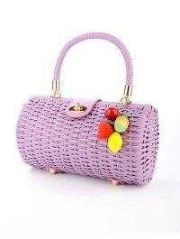 Wicker Baguette Purse in Lavender with Fruit Charm