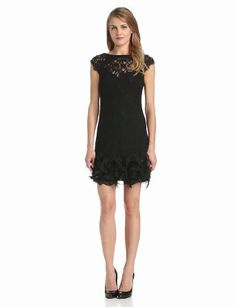 Jessica Simpson Women's Short-Sleeve Lace Dress with Feather Hem
