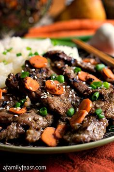 Bulgogi - A delicious version of Korean Beef Barbecue that anyone can make at home using commonly-found ingredients. Love me some bulgogi! Bulgogi, Greek Recipes, Asian Recipes, Indonesian Recipes, Orange Recipes, Beef Barbecue, Bbq Pork, Korean Barbeque, Greek Diet