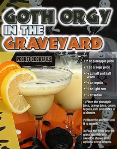 Get Freaky with this awesome creamy fruit punch combo! Liquor Drinks, Dessert Drinks, Cocktail Drinks, Beverages, Cocktail Recipes, Desserts, Halloween Drinks, Holiday Drinks, Summer Drinks
