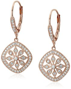 Sterling Silver Plated Lever-Back Cubic-Zirconia Dangle Earrings >> Click the Pin to view more