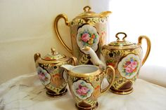 Tea and Coffee Set Moriage Gold and Pink Roses Noritake Japan  1930  - pinned by pin4etsy.com