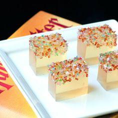 Champagne Jello Shots w/ Colored Sugar. Actual link.
