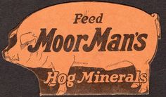 1928 MOORMAN'S HOG MINERALS CALENDAR TRADE/ADVERTISING CARD*FOLDOVER*DIE CUT