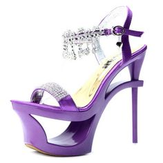 Kvoll Women's Unique Hollow out High Platform Satin Sandals with Studded Rhinestones Charms
