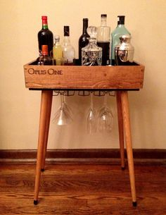 Opus Open Bar  wine box bar table by Thinkwithoutthebox on Etsy, $235.00