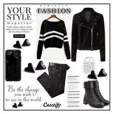 """""""black black"""" by binche ❤ liked on Polyvore featuring Casetify, BRAX, Paige Denim, Philosophy di Lorenzo Serafini, WALL, Arche and Pussycat"""