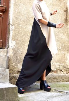New Collection  Maxi Dress /Beige and Black Asymmetrical