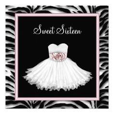 Pink Zebra Sweet Sixteen Birthday Party Custom Invitation