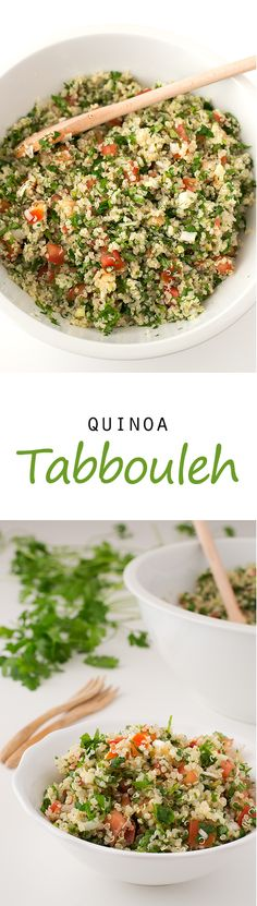 Quinoa Tabbouleh This quinoa tabbouleh is ready in 20 minutes and is the perfect meal to eat on the go. It's really easy to make and so nutritious. - (Vegan and GF) Quinoa Tabbouleh Vegetable Recipes, Vegetarian Recipes, Healthy Recipes, Vegetable Samosa, Vegan Quinoa Recipes, Potato Recipes, Pork Recipes, Quinoa Tabbouleh, Whole Food Recipes