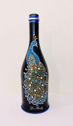 Bottle peacock decoration #recycledwinebottles