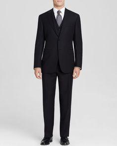 Canali Siena Texture Mini Stripe Three-Piece Suit - Classic Fit