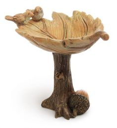 Leaf Bird Bath Fairy Garden Miniatures  $7.99 This birdbath is perfect for any Autumn fairy garden! The leaf and brown, fall colors really make it feel like home for the birds.   Hand-coated All-weather paint