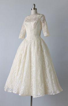 Tea Length Wedding Dress / 1950s Wedding by TheVintageMistress, $689.00