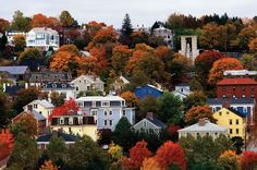 Autumn in Rhode Island, fall foliage and houses on a hillside in Providence