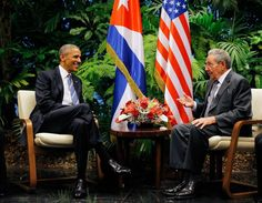 U.S. President Barack Obama and Cuba's President Raul Castro hold their first meeting of Obama's visit to Cuba on March 21, 2016. - Obama's historic trip to the island nation is the first by a sitting president in 88 years