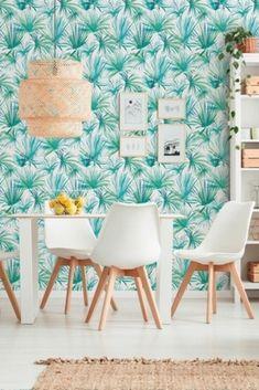 Tovagliolo///estivo per la/tavola da pranzo per la decorazione della cucina della pianta della foresta pluviale tropicale/con motivo a fenicotteri rosa