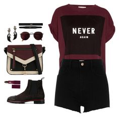 """""""Never Again"""" by tantisper ❤ liked on Polyvore featuring Pull&Bear, River Island, Bochic, Call it SPRING, Lipstick Queen, Christian Louboutin, Ray-Ban and Yves Saint Laurent"""