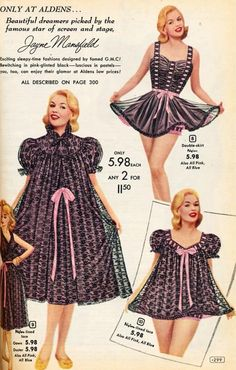 Vintage Lingerie Lingerie ad with Jayne Mansfield 1956 for Aldens Catalog - 1950s Style, Vintage Outfits, Vintage Dresses, Vintage Nightgown, Lingerie Retro, 1950s Fashion, Vintage Fashion, Baby Doll Pajamas, Moda Retro