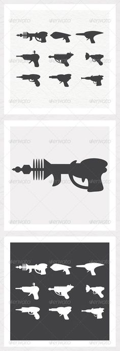 Ray Gun Silhouettes - Man-made Objects Objects