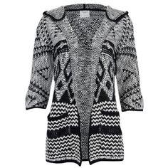Vero Moda Women's Wood 3/4 Hood Cardigan ($20) ❤ liked on Polyvore featuring tops, cardigans, black, black cardigan, patterned cardigan, print cardigan, shawl collar cardigan and black top