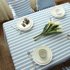 Maison Textile - Cuisine & Linge de table - Nappes - (Entrepôt UE) Méditerranéen Bleu-gris Frais nappe de table coton rayure basse nappes en tissu Moderne simple