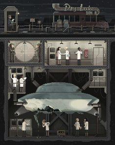 """Scene #7: """"The Secret"""" Pixel Art Illustration by Octavi Navarro. 2014.  http://www.pixelshuh.com/"""