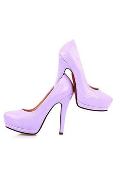 Light Purple Patent Faux Leather Embossed Heels | Cheap heels ...