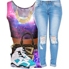 #Galaxy&Jordans by polyvoreitems5 on Polyvore featuring polyvore, fashion, style, Louis Vuitton and clothing
