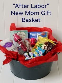 Create an easy DIY After Labor New Mom Gift Basket ad #giftbaskets