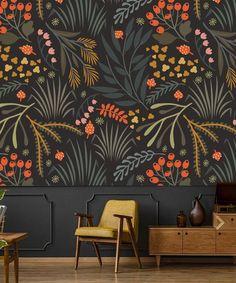 Wallpaper Leaves Botanical Peel and Stick Wallpaper Herbs Dark | Etsy
